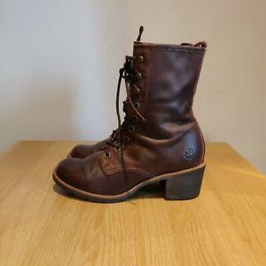 Dr Martens Vintage Lucie Dark Brown Leather Heeled Heel Ankle Boots Uk 4 Eu 37