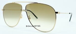 New Authentic GUCCI GG0440S 007 Aviator Gold Brown Gradient Lenses 63 mm