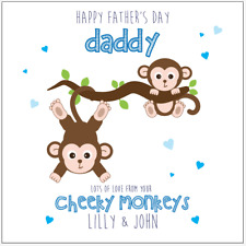 Personalised FATHERS DAY Card Dad Daddy Cheeky Monkeys