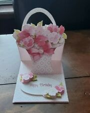 Happy Birthday Flowers in a Basket. Shaped Card. Hand Made