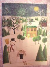 8 PENNY LANE 2010 BERNADETTE DEMING Country Snowman Glitter Christmas Cards