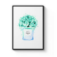 Teal Floral Perfume Bottle Art Painting Fashion Flowers Canvas Print Poster