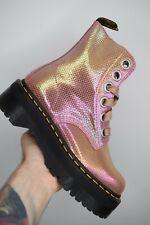 DR MARTENS MOLLY Pink Iridescent Texture Platform Retro Boots UK 5 EU 38 US 7