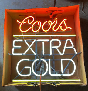 Vintage Original 1986 Coors Golden Beer Neon Sign New In Box Perfect Everbrite