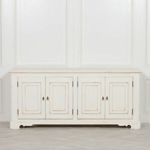 Classical Country Style White Distressed Mahogany Wood Large Cabinet Sideboard
