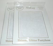 2 NuLEG Shimmy Glitter Pantyhose    WHITE Sheer Size Queen New