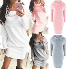 Fashion Autumn Womens Knitted Sweater Mini Dress Winter Dresses Lapel Jumper
