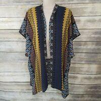 Daniel Rainn Size XS Kimono Oversize Boho Geometric Print Open Front Topper