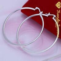 Trendy Women's 925 Sterling Silver Filled Celebrity Round Hoop  Earrings
