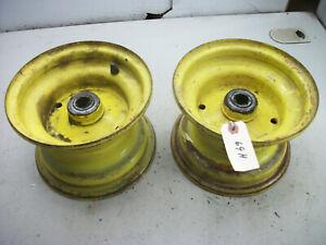 """1982 John Deere 212 Garden Tractor Part : Pair Front Wheels,5 1/4' Wide,1"""" Hole"""