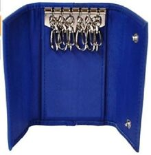 Genuine Leather Key Chain Pouch and Credit Card Holder with Case Note - BLUE