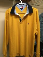 Vintage Tommy Hilfiger Rugby Polo Long Sleeve Yellow Navy Medium