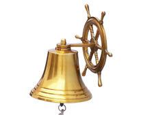 "Brass Plated Solid Aluminum Bell 8"" w/ Ship Steering Wheel Bracket Wall Decor"