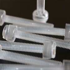 20 x Transparent Clear Plastic Acrylic Thumbscrews, slotted+knurled M6 x 20mm