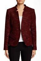 Charles Gray London 162896 Women's Boucle Knit Jacket Red/Black Sz. Large