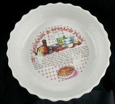 Vintage 1980s Sausage & Spinach Ceramic Flan Recipe Dish