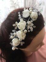 elegante bianco rosa strass perla vetro Sposa Matrimonio / damigella d' ONORE