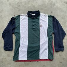 Bugle Boy Vintage 90s Multicolor Striped Long Sleeve Rugby Polo Shirt Mens Large