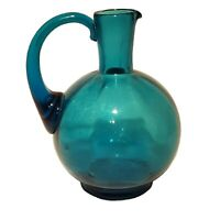 "VINTAGE BLENKO ? GLASS PITCHER MID CENTURY MODERN TEAL BLUE 7""  TALL ART MCM EUC"