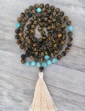 Turquoise 8MM natural gemstone Tigers Eye 108 Mala necklaces yoga tassel