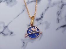 Cute royal blue gold sabrina cat enamel charm golden plated necklace women