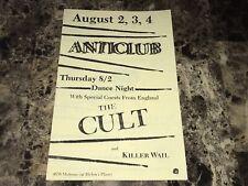 The Cult Rare 1984 Concert Poster Handbill Show Flier Ian Astbury Billy Duffy
