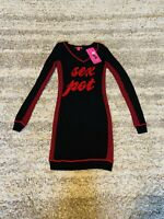 NWT Betsey Johnson Small SEX POT Runway Red Black Pin Up Bodycon Sweater Dress