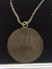 """Sestertius Of Nero Roman Coin WC29 Made In Pewter On 16"""" Silver Plated Necklace"""