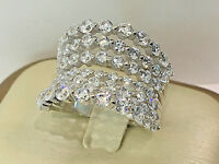 925 Sterling Silver Large Round Cluster Ring C.Z,18k White Gold overlay.size 8