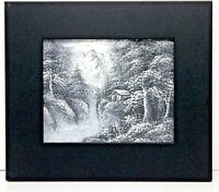 Forest Cabin Mountain Scene 8 x 10 Art Oil Painting on Canvas w/Custom Frame