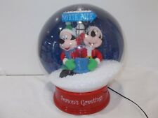 Gemmy Disney Giant Mickey & Minnie North Pole Waterless Snow Globe Musical