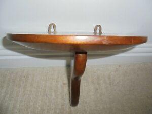 Vintage half moon solid mahogany wall shelf, candle sconce, clock bracket
