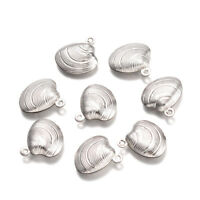 50pcs 316 Stainless Steel Shell Conch Charms Carved Dangle Pendant Findings 14mm