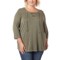 CATHERINES WOMEN'S OLIVE GREEN 3/4 SLEEVE LACE-UP TOP PLUS Sz 5X 34/36W