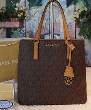 NWT MICHAEL KORS MORGAN MK Signature MED TOTE Bag PVC/Leather BROWN/ACORN $228