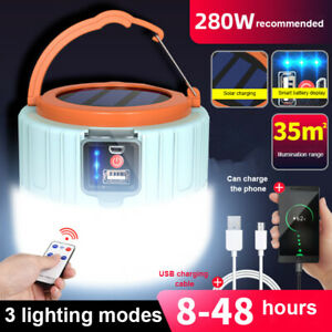 Solar LED Camping Light Tent Lamp USB Rechargeable Lantern Flashlight Outdoor !!