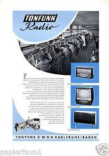 Tonfunk Radio Karlsruhe XL Farbreklame 1956 Fernseher TV Reklame Werbung Ad