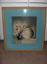 Vintage Benjamin Harris Listed Artist Watercolor Painting Still Life Art Deco