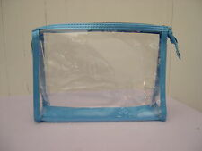 New Lancome Clear Vinyl with Blue Trim Cosmetic Makeup Travel Bag Case