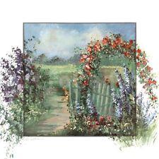 """36W""""x36H"""" FISCHLAND II by K. SCHOTTLER FLOWER GARDER ALONG PATH with GATE CANVAS"""