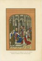 ANTIQUE CORONATION OF KING CHARLES V THE 5TH FRANCE CHURCH ILLUMINATED ART PRINT