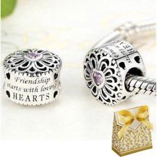 925 Silver Pink Stone Heart BEST FRIENDS CHARM Fits European bracelet + GIFT BOX