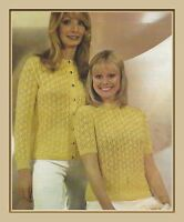 """Ladies Lace Twin Set Knitting Pattern Vardigan and Sweater 4ply 20-24""""1040"""