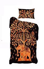 Orange Color Bedding Elephant Tree Indian Cotton Twin Size Quilt Cover Handmade