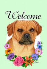 Welcome Flowers Garden Flag - Puggle 631231