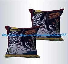 US SELLER-set of 2 cheap pillow Deathskull skeleton go fishing cushion cover
