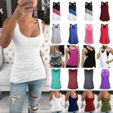 Womens Sleeveless Vest Top Summer Casual Sport Gym Yoga Tank Tops T-Shirt Blouse