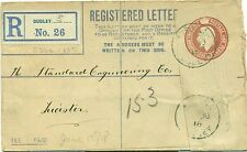 Dudley West Midlands Birmnigham registered envelope to Leicester 1918