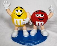 Mars Inc Yellow And Red M&M Dual Double Candy Dispenser On Blue Stand