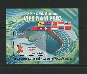 F160 Vietnam 2003 Mer Jeux, Flags Feuille MNH